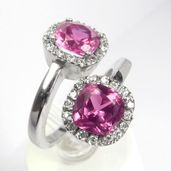Bypass halo simulated pink Sapphire SILVER Ring